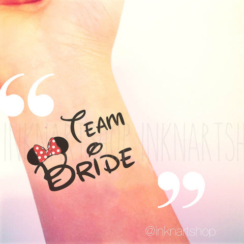 Custom Tattoo - Minnie Team Bride Party Tattoo