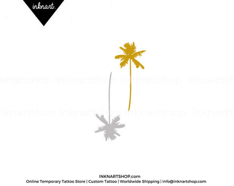 Set of 2 Metallic Gold Silver Palm Tree temporary tattoo