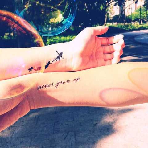 peter pan flying silhouette temporay tattoo