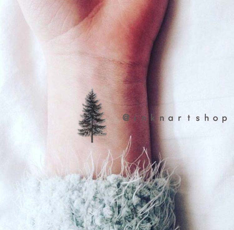 Tiny Pine Tree – INKNARTSHOP - Designer Temporary Tattoo