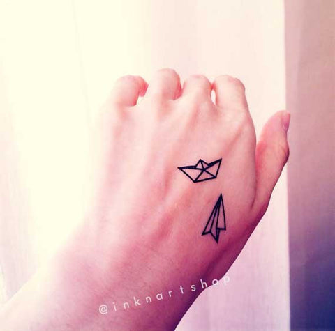 paper airplane boat origami temporary-tattoo