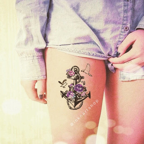 vintage-anchor-floral-temporary-tattoo