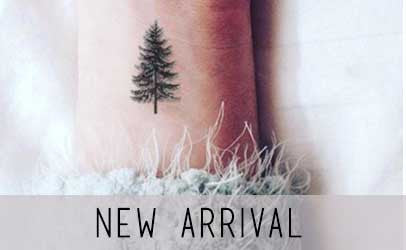pine tree floral temporary tattoo
