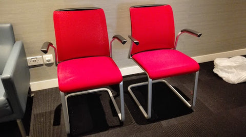 Steelcase SLED Chairs - Red Mesh Back Rest n Fabric Cushion