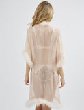 Mimi Holliday Bisou Bisou Zoo Long Maribou Gown in Apricot
