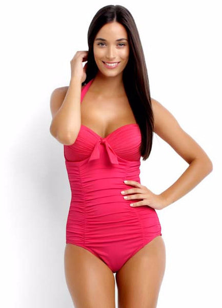 Seafolly Goddess Soft Cup Halter Retro Maillot in Raspberry
