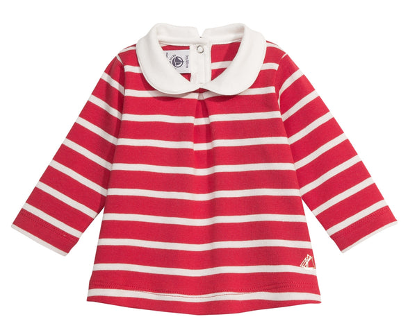 Petit Bateau Children Baby Girl Cotton Blouse with Collar in Red