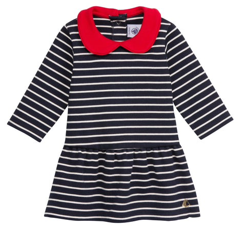 Petit Bateau Children Baby Girl Striped Dress with Red Peter Pan Collar