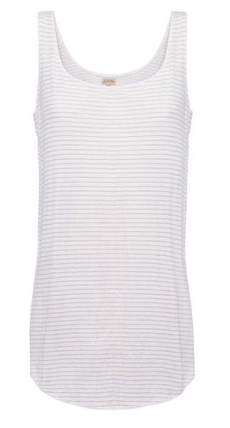 By Ti Mo S-Tees Long Cotton Singlet in Earth Stripe