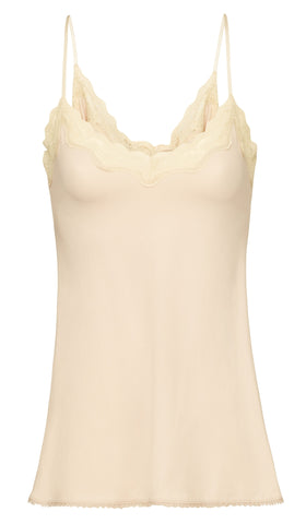 By Ti Mo 40's Lace Singlet in Latte