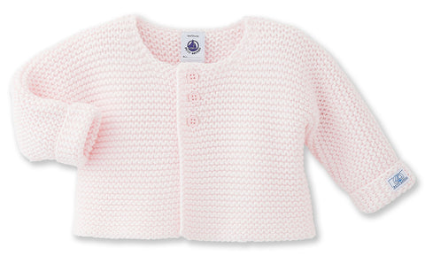 Petit Bateau Baby Girl Pale Pink Knitted Cardigan in Sissi Pink