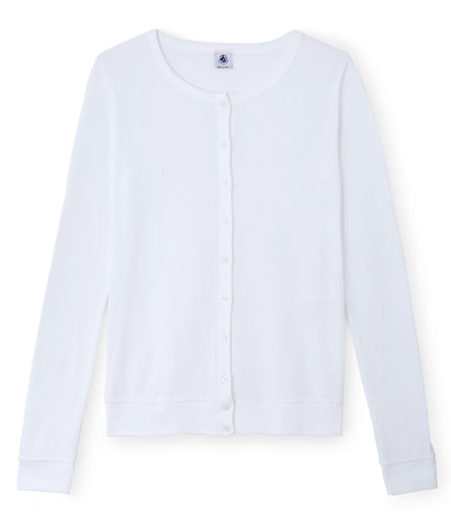 Petit Bateau Women Cotton Cardigan in White