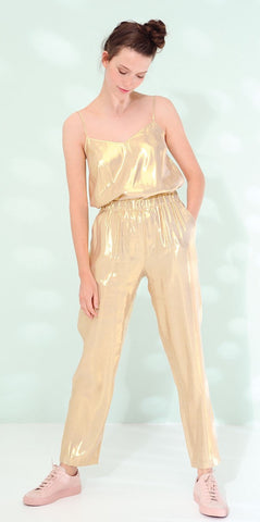 Des Petits Hauts Sevigne Metallic Silk Mix Trousers in Gold