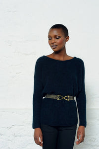 Des Petits Hauts Margie Belt in Black & Gold