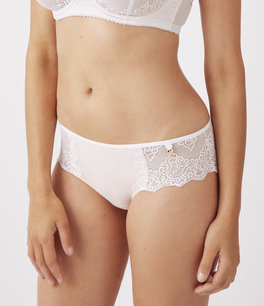 Mimi Holliday Camelia Microfibre Shortie in Oyster & White Lace