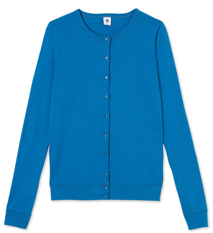 Petit Bateau Women Iconic Cotton Cardigan in Mallard Blue