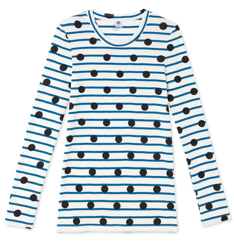 Petit Bateau Women Printed Cotton Long Sleeve T-Shirt