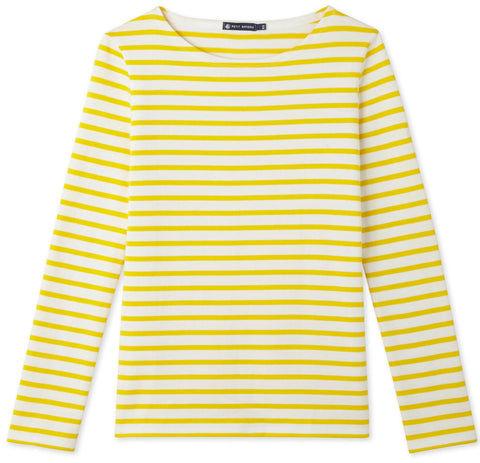 Petit Bateau Women Iconic Mariniere Top in White & Yellow