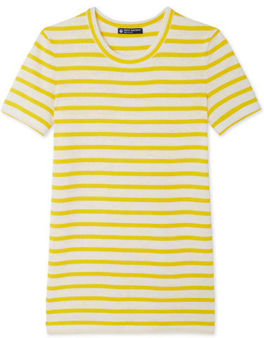 Petit Bateau Women Stripe Cotton T-Shirt in Yellow & White