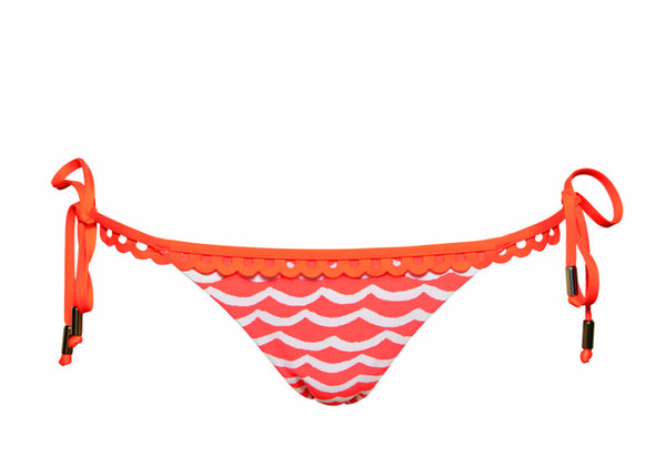 Seafolly Tidal Wave Brazilian Tie Side Pant in Nectarine & White