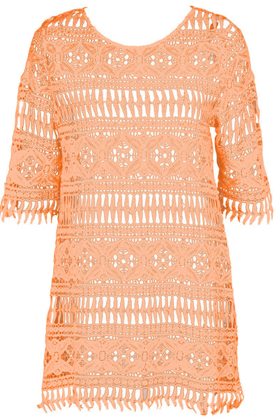 Watercult Smart Exotic Cotton Tunic Dress in Apricot
