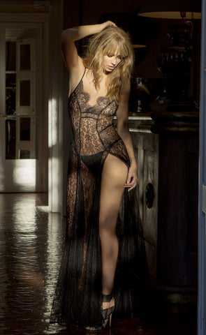 Marjolaine Silk Byzance Long Lace Nightdress & G-String Set