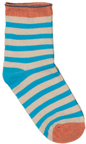 Becksondergaard Dory Multi Stripe Glitter Socks in Pineneedle or Brilliant Blue