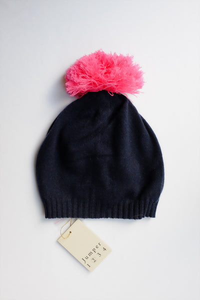 Jumper 1234 Pom Pom Hat in Navy & Pink