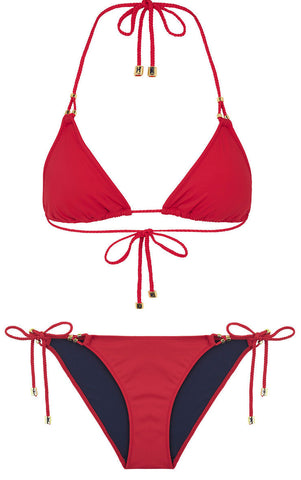 Heidi Klum Swim Sun Muse Triangle & Tie Side Bikini Set in Scarlet & Black Iris