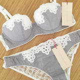 Stella McCartney Lingerie Marie Skipping Cotton Mix Cotour Balconette Bra in Stripe & White