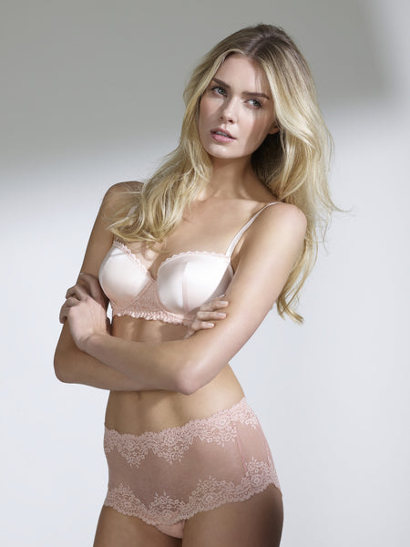 Mimi Holliday Lilium Moulded Silk Bra in Dusty Peach up to F Cup