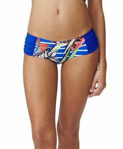 Moontide Swimwear Eden Gathered Side Boyleg in Garden Stripes