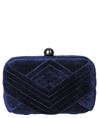 Becksondergaard Mike Velvet Clutch Bag in Classic Navy