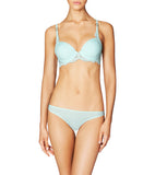 Stella McCartney Smooth & Lace Contour Plunge Bra in Cambridge Blue