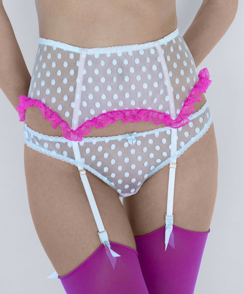 Mimi Holliday Hummingbird Ruffle Suspender Belt in Aqua