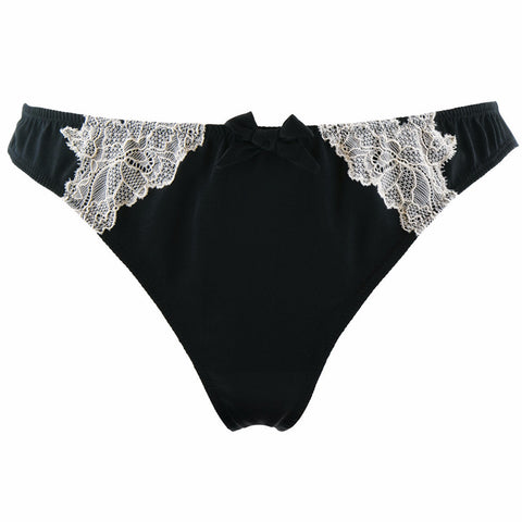 Rosy Lingerie Sublime Silk Satin Thong in Black & Ecru