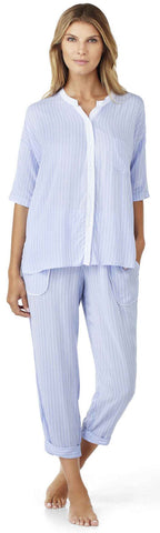 DKNY The Lineup 3/4 Top & Capri Set in Oxford Stripe