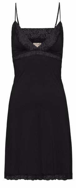 By Ti Mo 40's Lace Trim Chemise in Black