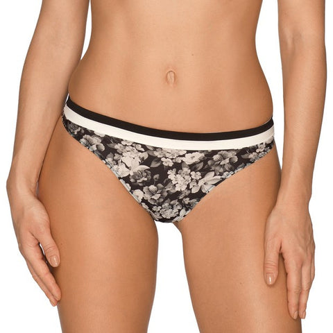 Prima Donna Flower Shadow Thong in Black