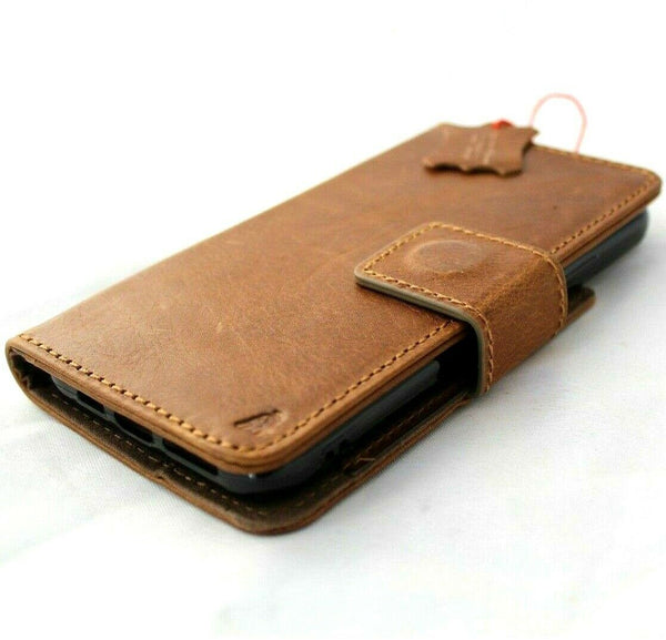 Genuine Full Tanned leather Removable case for iPhone 8 Plus detachable cover book wallet cards id window flip slim soft holder rubber Wireless Charging