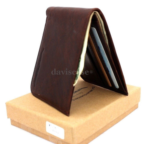 Men Genuine italian Leather wallet Billfold case COIN POCKET CARD id 1 Cash Slots  handcraft luxury free shipping