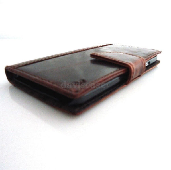 genuine oil leather Case For Samsung Galaxy Note 3 book wallet handmade brown