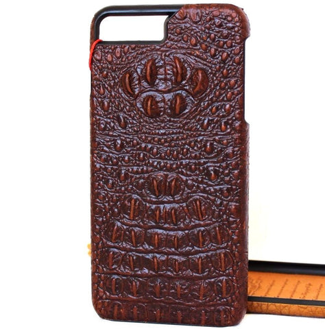 Genuine REAL cow leather iPhone 8 plus case cover wallet credit holder book luxury crocodile Design