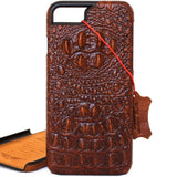 Genuine REAL cow leather iPhone 7 plus case cover wallet credit holder book luxury crocodile Design