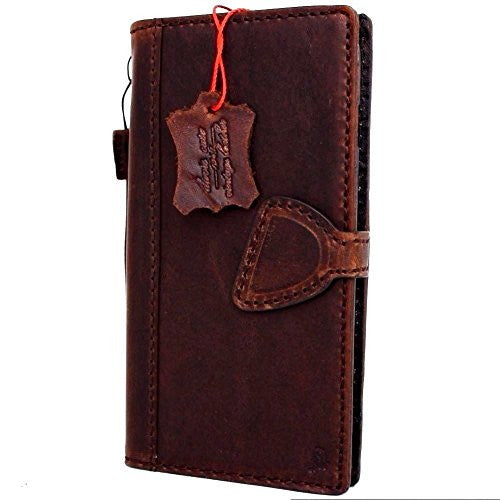Genuine Natural leather iPhone 8 Plus case magnetic cover wallet credit holder book luxury vintage style Davis