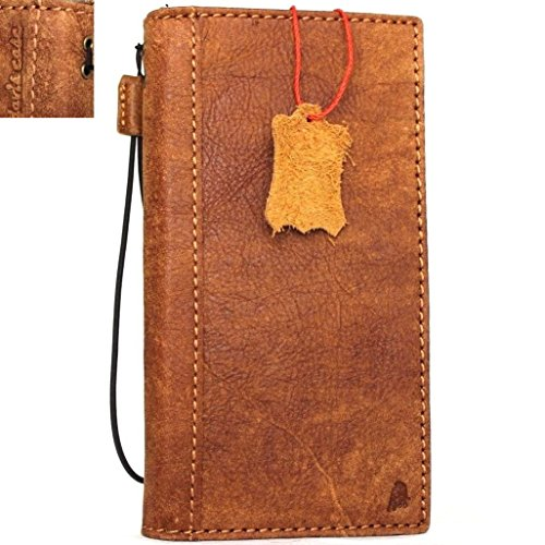 Genuine Leather Case for iPhone 7 Plus book wallet cover Cards slots Slim vintage brown Daviscase