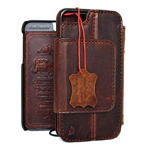 Genuine italian leather iPhone 6 6s safe case cover wallet credit holder book Removable