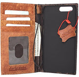Genuine Vintage Leather Case for OnePlus 5 Book Wallet Cover Slim Handmade Style Cards Slots Bright Brown Daviscase