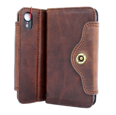 Genuine oiled leather for apple iPhone XR case cover wallet credit soft holder book prime retro slim Art Jafo Tic