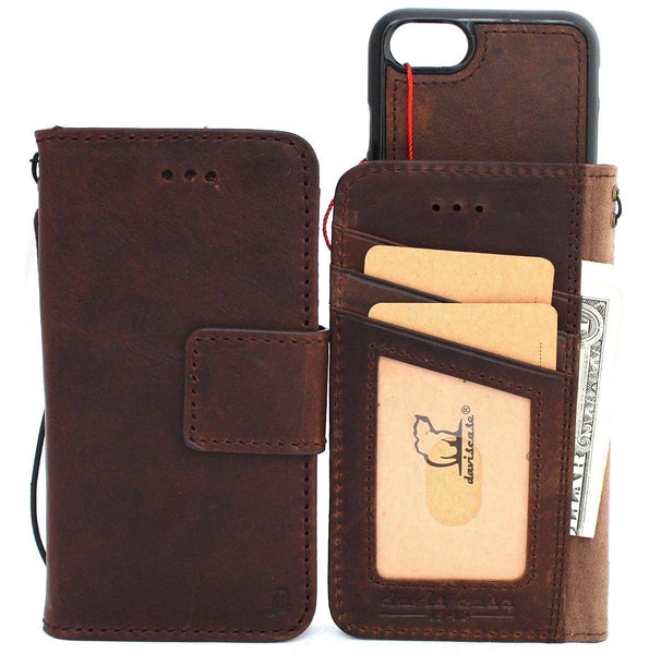Genuine Italian leather iPhone 7 case cover wallet credit holder book Removable 7 handmade luxury Jafo rubber